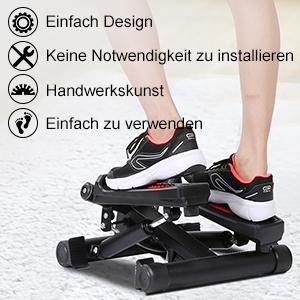 Benutzergewicht bis 120kg mit Verstellbare Widerstand f/ür Fitness- Heim- Bauch- und Beinetraining ENKEEO Mini Stepper Twister Up-Down-Stepper Drehstepper /& Sidestepper 40 x 37,5 x 25 cm