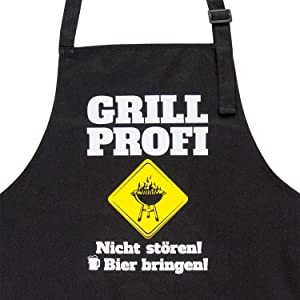 Grillschürze für Männer lustig: Grill Profi. Nicht stören! Bier bringen!
