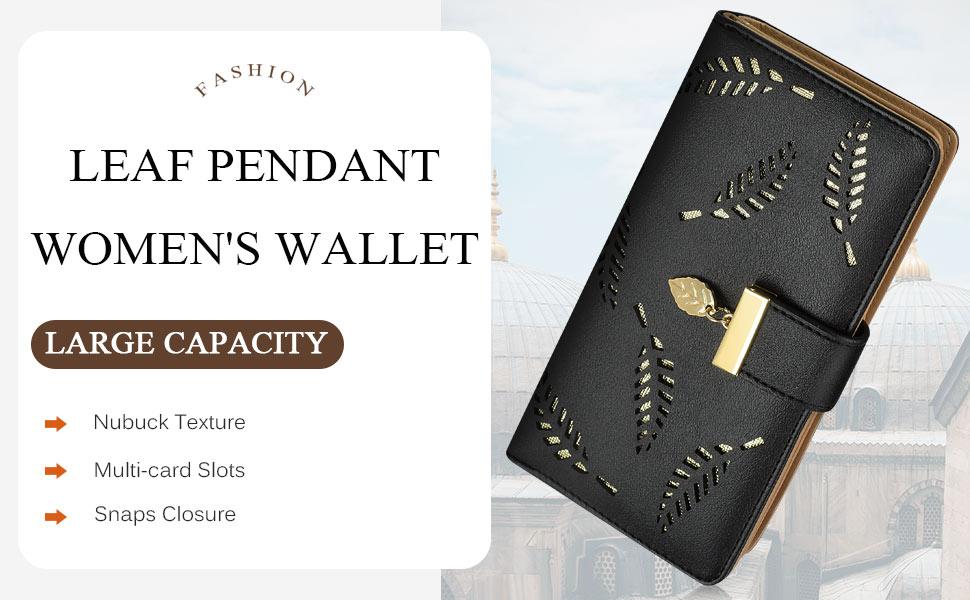 Rosa Damen Geldbörse Portemonnaie Handtasche Lang Portmonee Card Holder Leaf