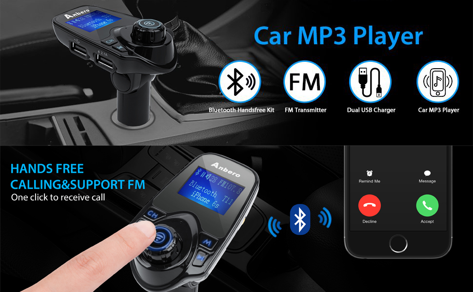 anbero fm transmitter bluetooth auto adapter. Black Bedroom Furniture Sets. Home Design Ideas