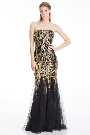 Angel-fashions Damen Pailletten Schatz Tüll Schnüren Hochzeitskleid 106