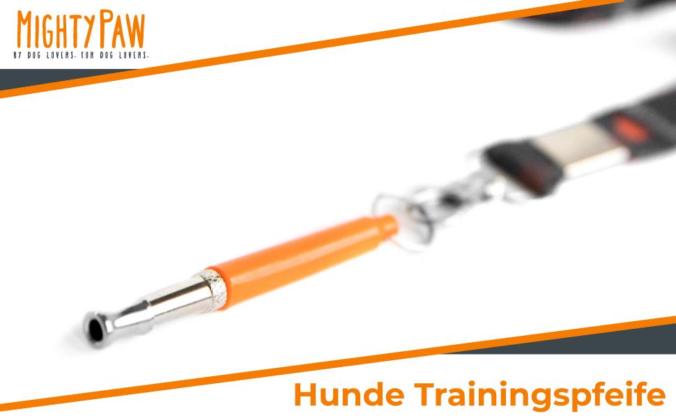 Mighty Paw Training Whistle Stummhundepfeife Mit Einziehbarer Gurtanbindung Und Hals Lanyard Keine Barke Hundetrainingsgerät Für Gehorsam Und Recall Standard Orange Haustier