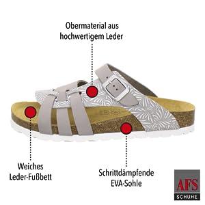 AFS-Schuhe, Pantoletten, Sandale, Damen, Frauen, Leder, Echtleder, Schlappen, Hausschuhe