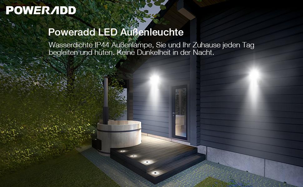 poweradd led au enleuchte au enlampe mit bewegungsmelder und d mmerungssensor 10 m reichweite. Black Bedroom Furniture Sets. Home Design Ideas