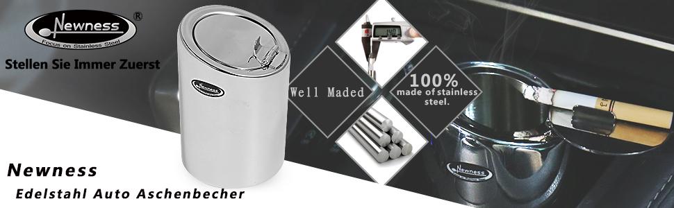 Autoaschenbecher Aschenbecher mit Deckel aus Edelstahl