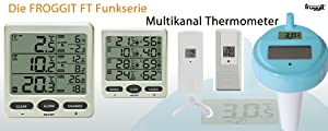 froggit funk thermometer ft0073 mit 3 thermo hygrometer funksensoren luftfeuchte lcd display min. Black Bedroom Furniture Sets. Home Design Ideas
