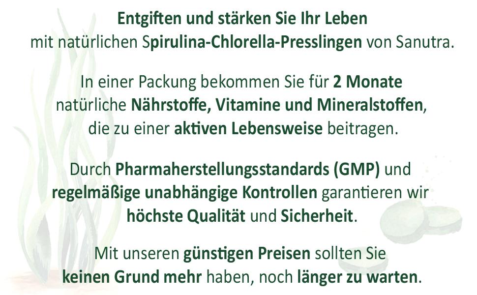 Sanutra spirulina chlorella key features