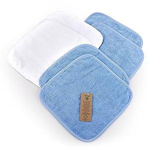 Moltont/ücher Waschlappen 30 x 30 cm 100/% Baumwolle kuschelig weich weiss-blau