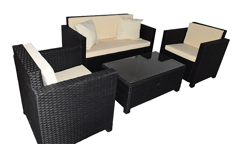 gartenmoebel cannes rattan lounge m bel black polyrattan gartenausstattung von jet line. Black Bedroom Furniture Sets. Home Design Ideas