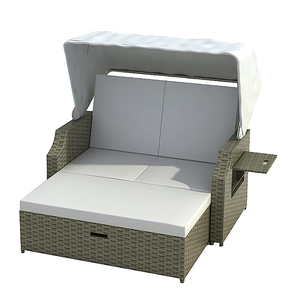 strandkorb cuxhaven in grau beige gartenmoebel polyrattan mit alu gestell neu. Black Bedroom Furniture Sets. Home Design Ideas