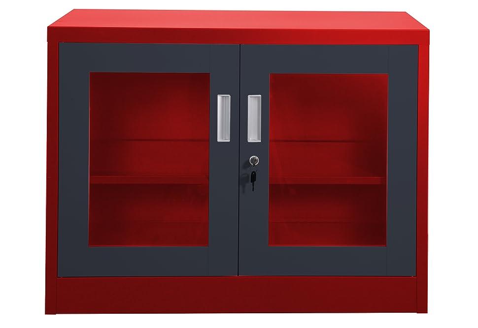 Aktenschrank Ufa rot-dunkelgrau mit Sichtfenster Büro Lager ...
