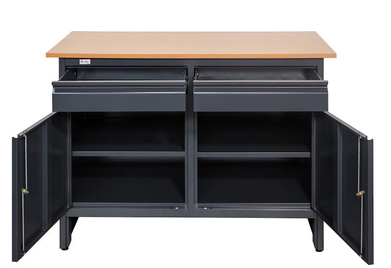 Werkbank Werktisch Arbeitstisch Werkstatttisch Tisch rot anthr mit 3 Schubladen