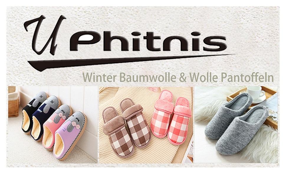 UPhitnis Winter Kuschelige Baumwolle Pantoffeln für Damen Herren ...