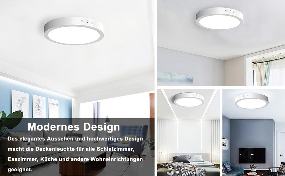 Veelicht LED Deckenleuchte 24W, 1600LM, Warmweiß 3000K, AC 230V, Metall  Rahmen,Panel Leuchte, Modern LED Deckenlampe Schlafzimmer ...