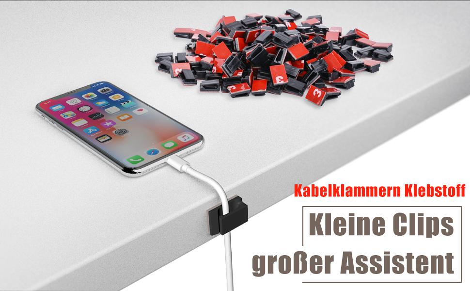 Kabel-Clips 200 Stück Selbstklebend Kabel-Halter Kunststoff Schnell ...