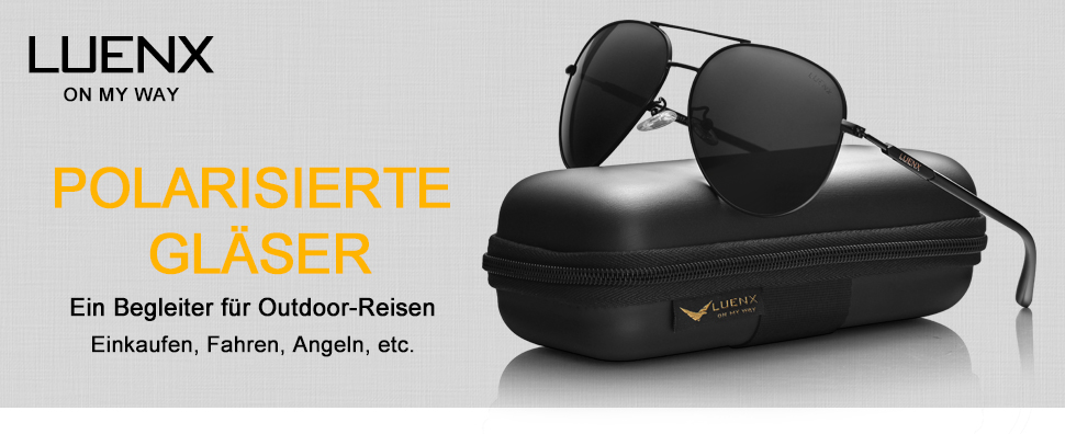 luenx herren sonnenbrille aviator polarisiert mit etui uv 400 schutz braun linse gold rahmen. Black Bedroom Furniture Sets. Home Design Ideas