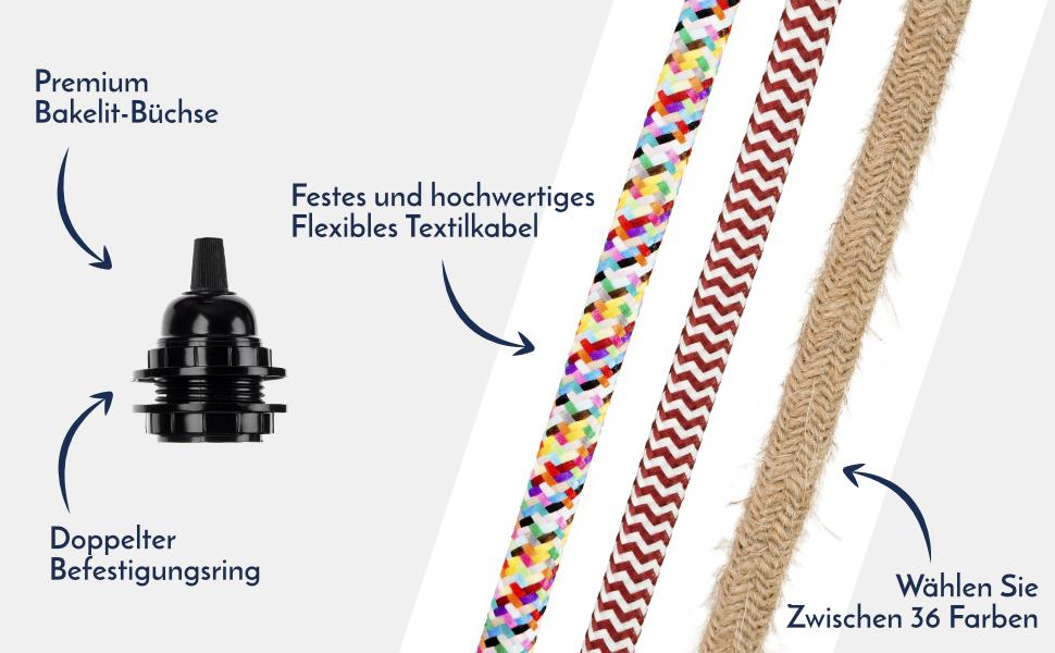 3m Premium Textilkabel Design Zuleitung Anschlussleitung Stecker echtes Metall