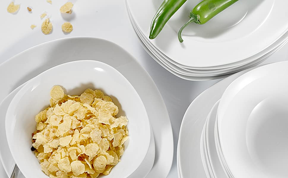MALACASA, Serie Elisa, 24 teilig Set Porzellan Tafelservice Kombiservice Geschirrset mit je 6 Speiseteller, 6 Dessertteller, 6 Suppenteller, 6