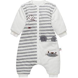 Baby Schlafsack mit Abnehmbare Langarm Kinder Schlafsaecke mit F/ü/ßen,Kinder Winterschlafsack 3 Tog 9-24 Monate
