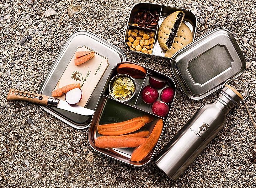 alpin loacker edelstahl lunchbox f r kinder und erwachsene mit faltg ffel brotdose brotbox. Black Bedroom Furniture Sets. Home Design Ideas