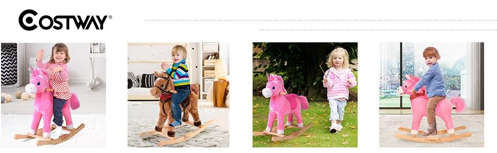 Spielzeug Pl/üschschaukel COSTWAY Schaukelpferd Kinder Braun Schaukelspielzeug mit Musik Schaukeltier 74 x 33 x 62 cm