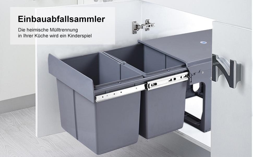 Abfallsammler Einbau Mülleimer Abfalleimer Vollauszug Mülltrennung Küchen  15Lx2 Haushalt