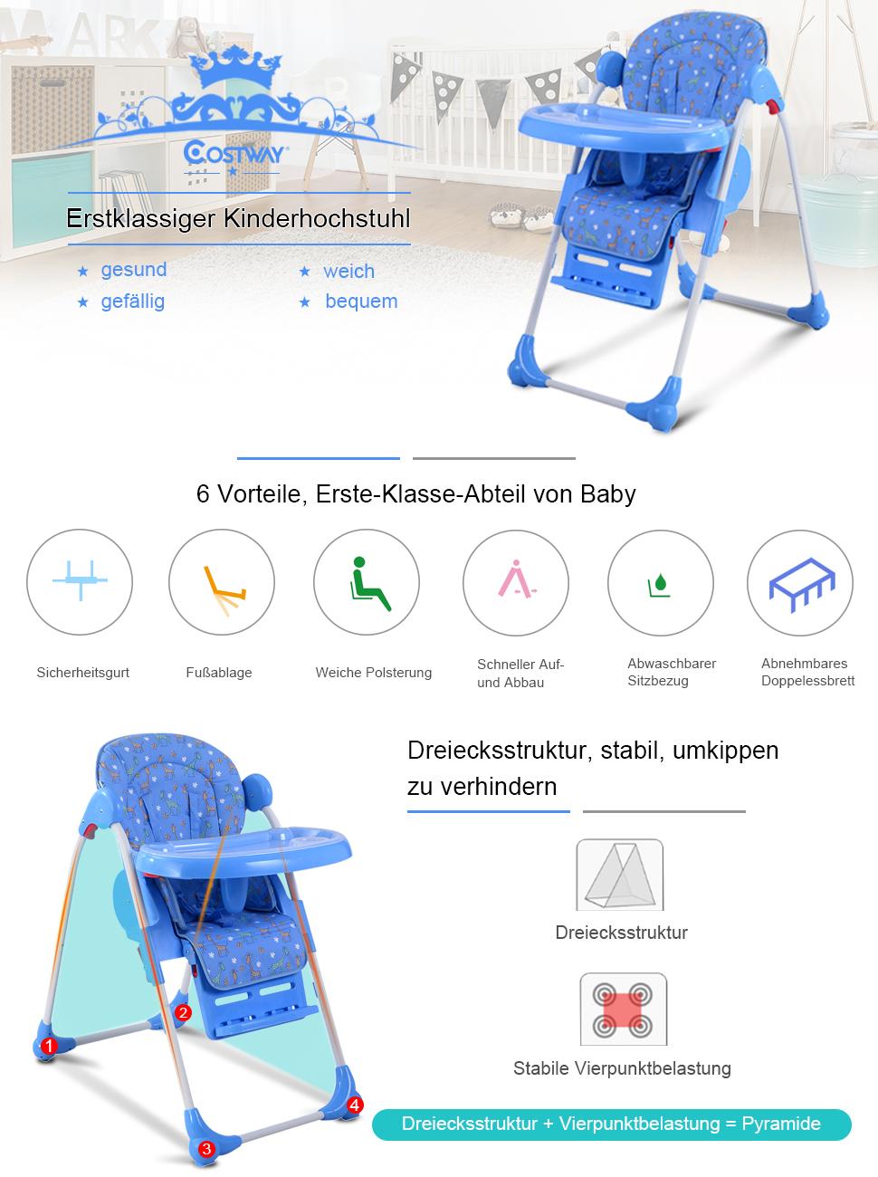 costway hochstuhl kinderhochstuhl babyhochstuhl hochsitz treppenhochstuhl farbwahl klappbar. Black Bedroom Furniture Sets. Home Design Ideas