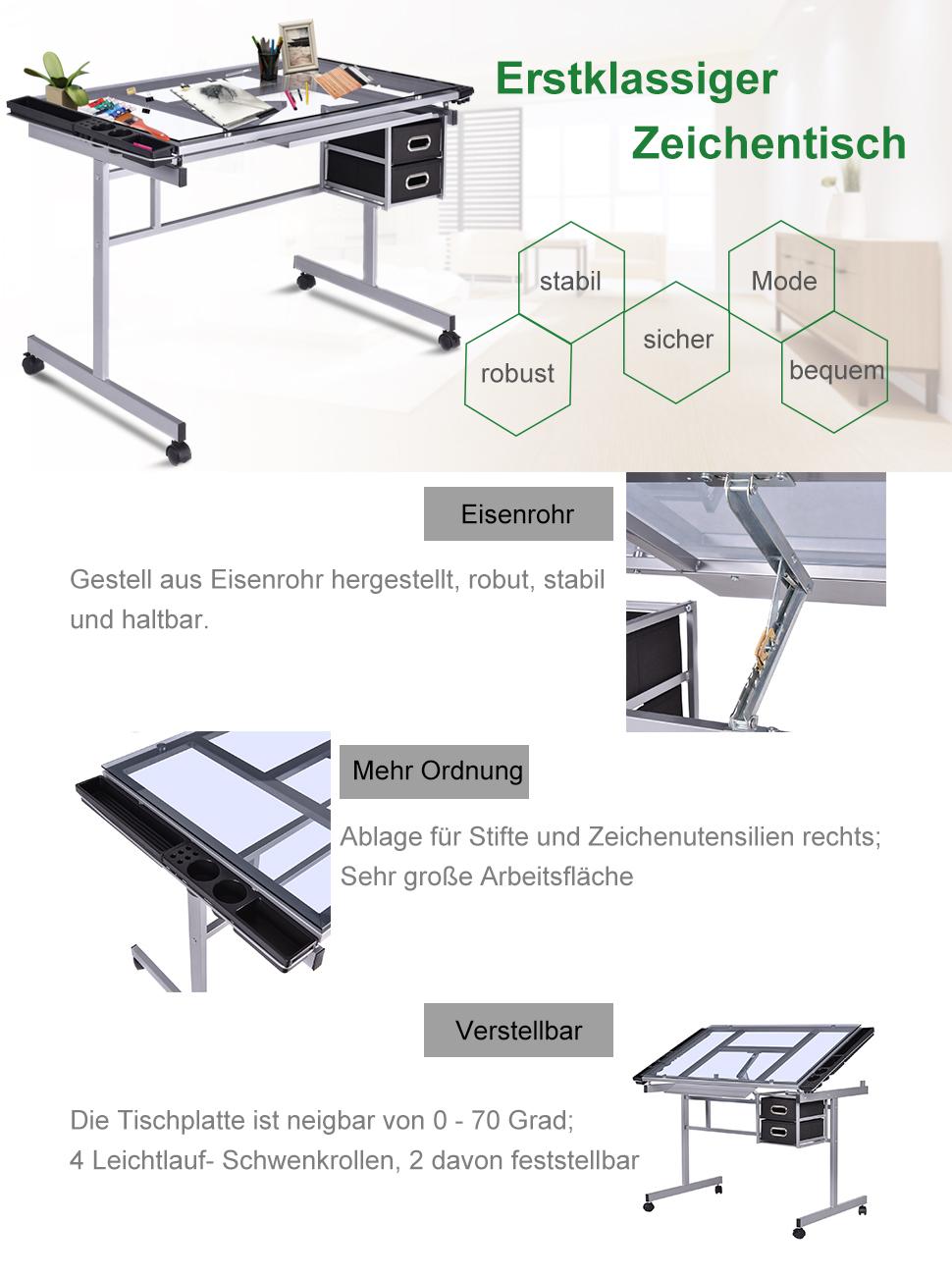 COSTWAY Zeichentisch Schreibtisch Architektentisch