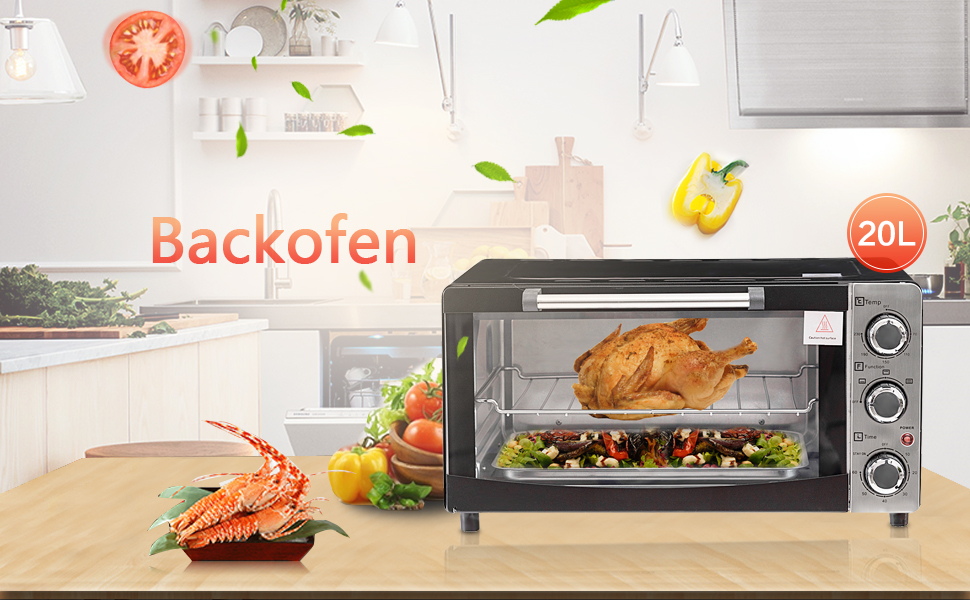 costway mini backofen minibackofen pizzaofen pizza ofen ofen mit backblech kr melblech grillrost. Black Bedroom Furniture Sets. Home Design Ideas