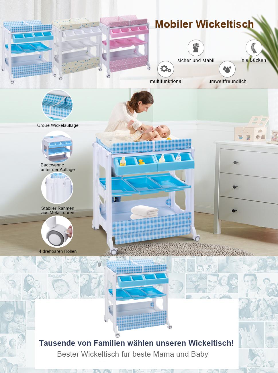costway mobiler wickeltisch wickelkommode wickelauflage wickelkombination wickelregal baby. Black Bedroom Furniture Sets. Home Design Ideas