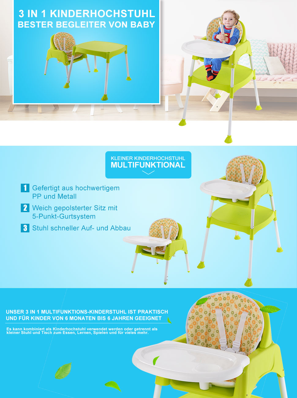 costway 3 in 1 kinderhochstuhl hochstuhl babystuhl babyhochstuhl multi kombihochstuhl. Black Bedroom Furniture Sets. Home Design Ideas