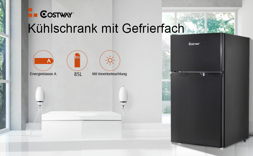 Kühlschrank Mit Gefrierfach Klein : Costway kühlschrank mit gefrierfach standkühlschrank