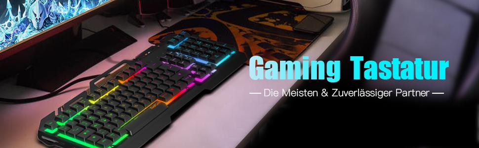 Teclados Gaming, TedGem Teclado Gaming, Teclado USB, Teclado Gaming PS4 LED Retroiluminado con Cable USB, Teclado para PC/Laptop / PS4 / Xbox One ...