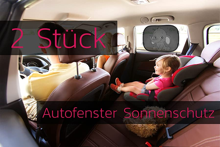 Car Sun Shade inkl Sonnenblende Auto in neutralem schwarz SMARTCAR ADDS Sonnenschutz Auto Baby mit UV Schutz 6 Saugn/äpfen /& Transporttasche