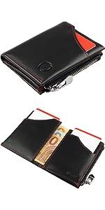 nuovo di zecca 7c036 e6b14 Portafoglio nero uomo vera pelle RFID - piccolo portafoglio ...