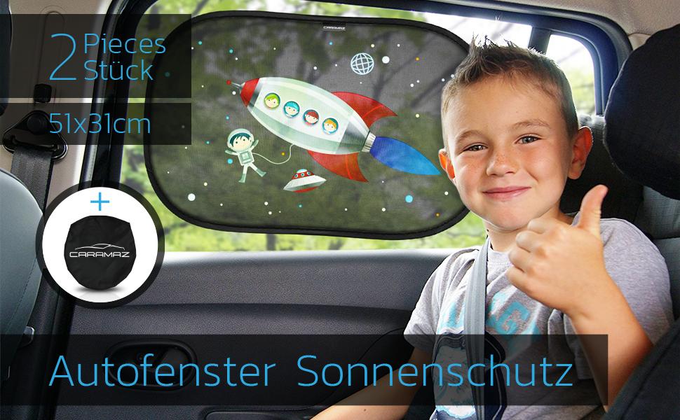 CARAMAZ Sonnenschutz Auto Baby mit UV Schutz 2 St/ück selbsthaftende Sonnenblende Auto f/ür Kinder und Haustiere mit Astronaut