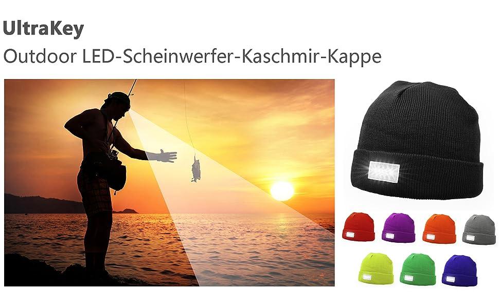 Geeignet f/ür Camping Festivals usw 5 LED-Kappen Ohne Kappeschirm UltraKey Outdoor LED-Scheinwerfer-Kaschmir-Kappe Outdoor-Aktivit/äten Partys Angeln