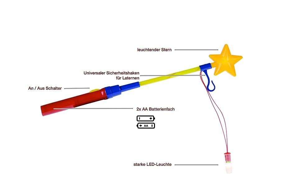 Laternenstab 12 St/ück Laterne LED Leuchtstab Sankt Martin Laternenlicht
