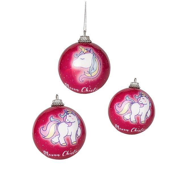 3x einhorn unicorn christbaumkugeln trend 2017 weihnachtskugeln weihnachtsbaumschmuck. Black Bedroom Furniture Sets. Home Design Ideas