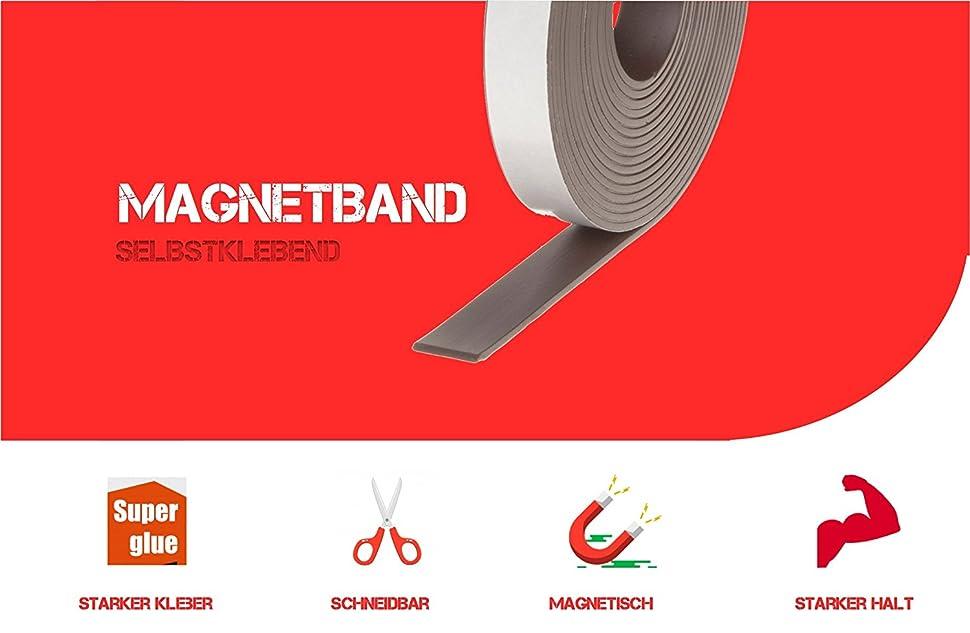 Magnetischer Klebestreifen Magnetband Selbstklebend Magnet Klebeband Magnetfolie