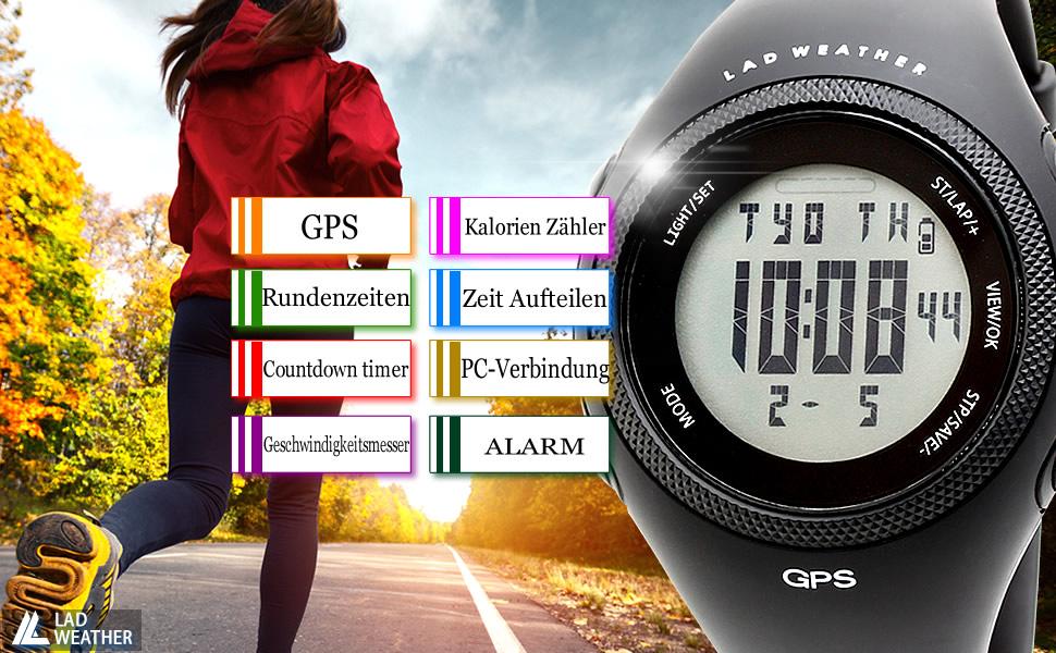 WeatherGps Kalorie Chronograph Rundenzeit Entfernung Google Lad 2W9IEDH