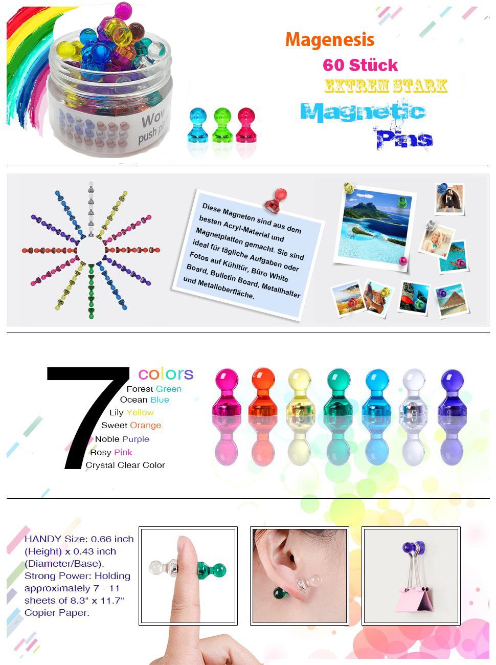 Magenesis 60 Stücke Farbige Bunte Transparente Whiteboard Magnete Tafelmagnete