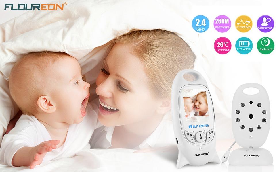 Floureon babyphone mit kamera digital video baby monitor