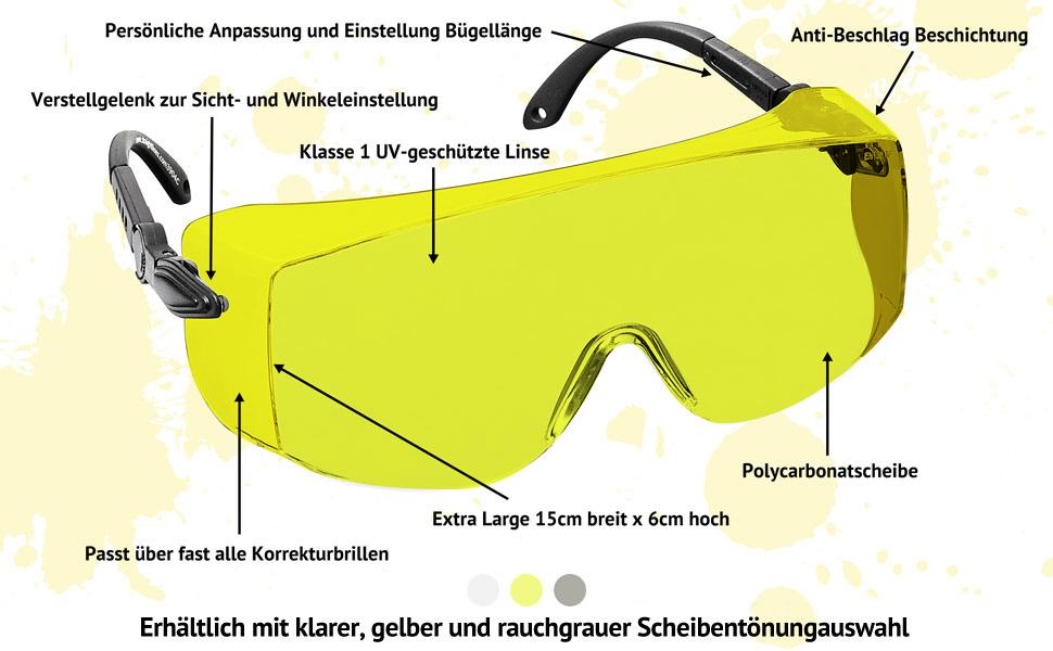 """Schutzbrille /""""Sport/"""" gelbe  Polycarbonat Scheibe beschlagfrei"""