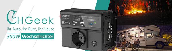 CHGeek 300W Auto Wechselrichter DC 12V auf AC 230V Inverter KFZ Spannungswandler Wechselrichter mit EU Steckdose 4.8A Dual USB Ladeger/ät und 2 Zigarettenanz/ünder f/ür Phones Tablet und mehr