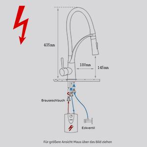 GIMILI Niederdruckarmatur Küche Mischbatterie Niederdruck