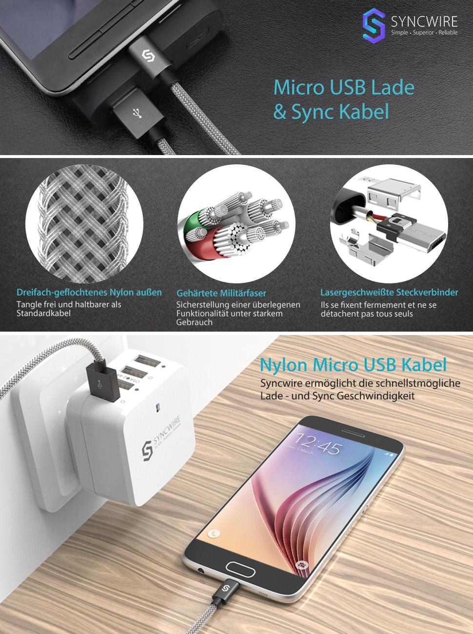Micro USB Kabel Syncwire 2.4A USB Ladekabel: Amazon.de: Elektronik