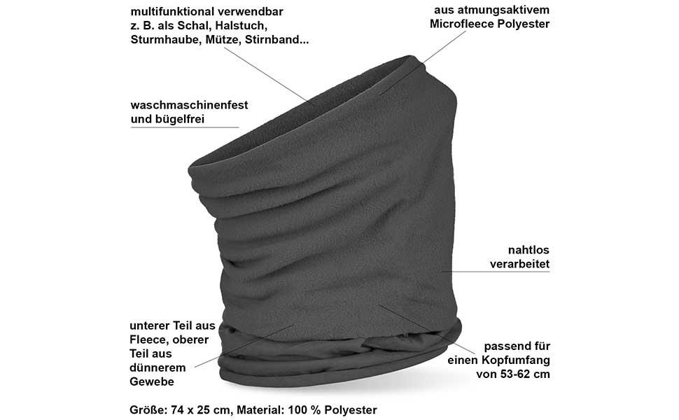 Schal mit Klettverschluss Herren Damen schwarz Details zu  Fleece