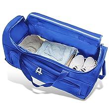 Blaue Tasche befüllt