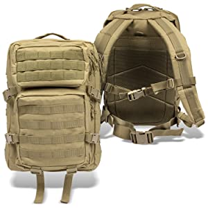 Assault Pack II Coyote vorne und hinten